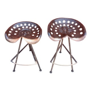 Industrial Metal Counter Stools - A Pair