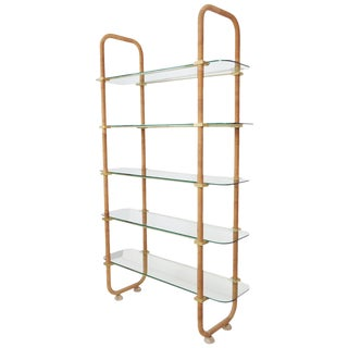Modern Design Brass & Wrapped Glass Etagere