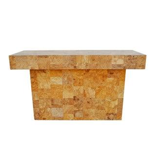 Patchwork Faux Burl Wood Console Table