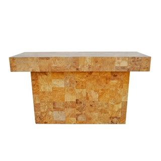 Patchwork Faux Burl Wood Console Table