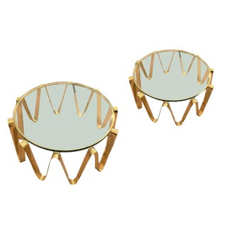 "Set of Brass ""Onda"" Coffee Tables"