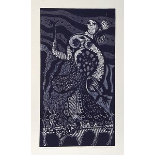 "Manuel Izqueirdo, ""Spanish Dancer (Blue),"" Woodcut"