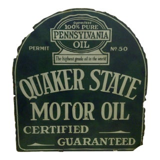 "Vintage Porcelain Advertising Sign - ""Quaker State Motor Oil"" - Circa 1930"