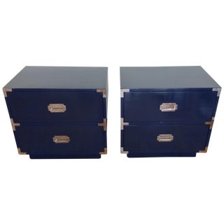 Dixie Campaign Nightstands in Glossy Navy - Pair
