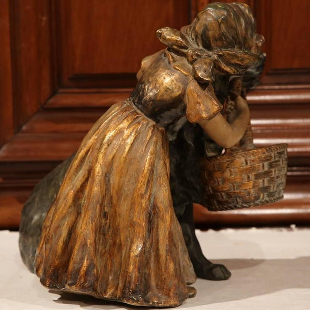 19th Century French Girl & Dog Terracotta Sculpture - Image 6 of 9