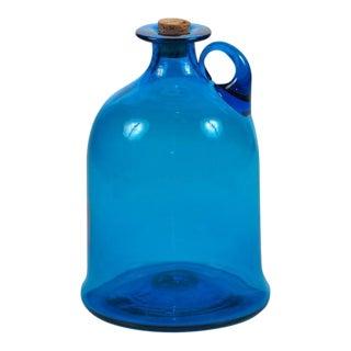 Blenko Mid-Century Hand-Blown Blue Glass Jug