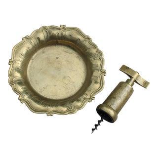 Vintage Brass Corkscrew & Wine Coaster