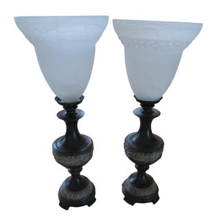 Bronze Table Lamps with Murano Glass Shades - Pair