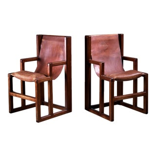 Unique and signed William Richardson Pair of Studio Crafted Chairs, USA, 1970s