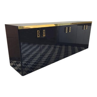 Mid Century Black Lacquer and Brass Asian Credenza