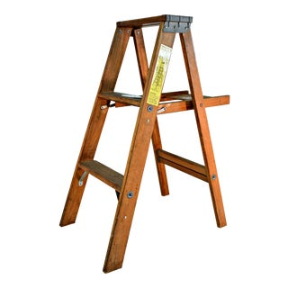 Vintage Wooden Ladder with Tool Shelf