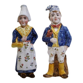 19th Century Hand-Painted French Faience Figurines - A Pair