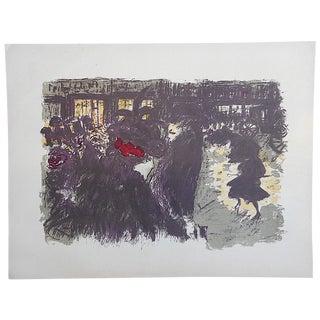 Vintage Pierre Bonnard Lithograph, Paris Scene
