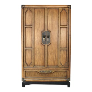 Asian Campaign Walnut Armoire - 3 Drawer With Dividers