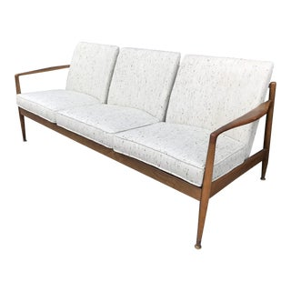 1960's Danish Modern Walnut Framed Sofa