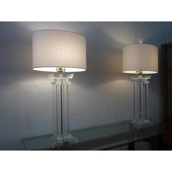 Image of Asian Style Lucite Lamps - Pair