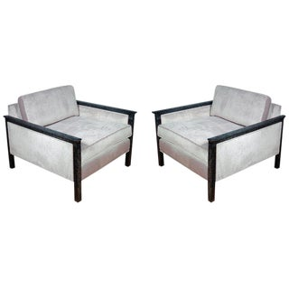 Pair of Cerused and Velvet Chairs