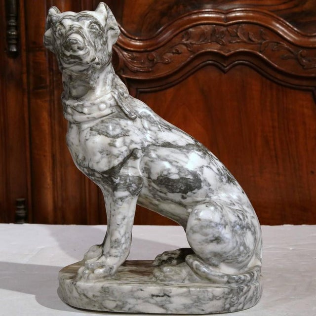 19th Century French Gray & White Marble Dog Figure - Image 2 of 10