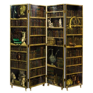 Piero Fornasetti Four Panel Folding Screen with La Citta Riflettente and Library