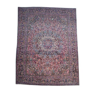 Persian 1950s Mashad Hand Tied Woven Rug - 11′5″ × 15′2″