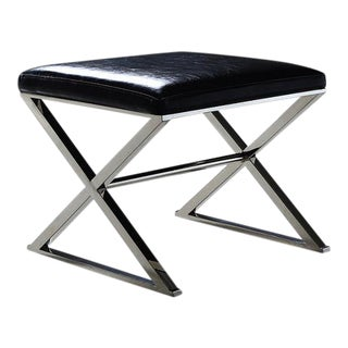 Pasargad Luxe Collection Black Faux Leather Bench
