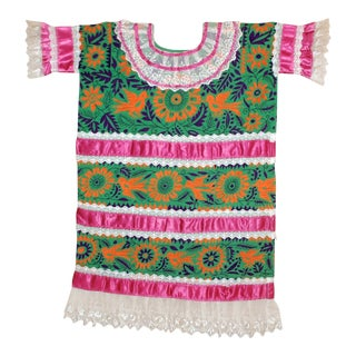 Vintage Embroidered Huipil From Mazatec, Oaxaca