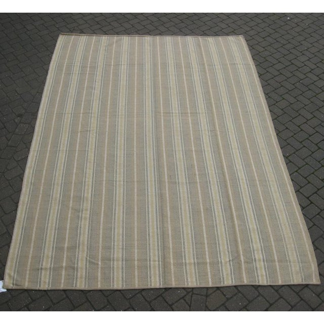 Image of Flat Weave Striped Indian Rug - 10' X 14'