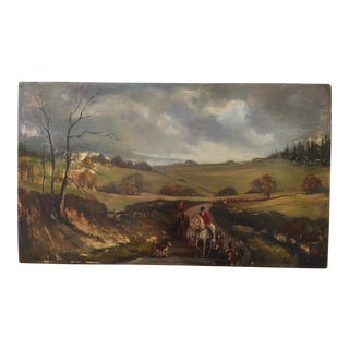 "English Hunt Scene Oil Painting - 24"" x 14"""