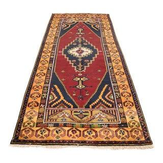 Vintage Turkish Tribal Design Rug - 4′2″ × 10′2″
