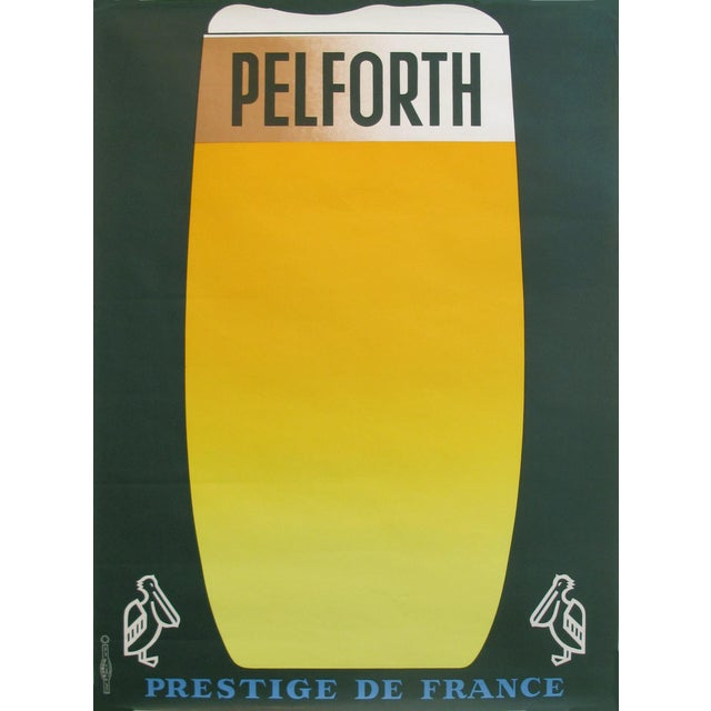 1960s French Vintage Pelforth Beer Poster - Image 1 of 5