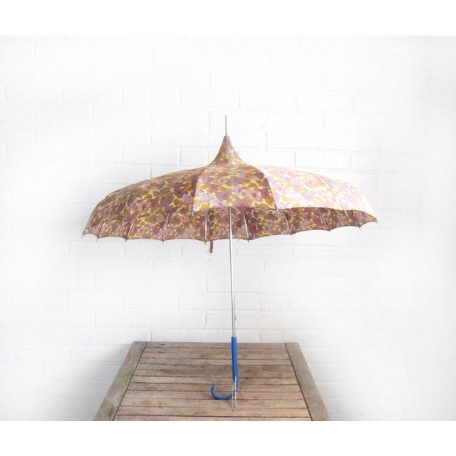 Image of Vintage 1950s Floral Pagoda Umbrella