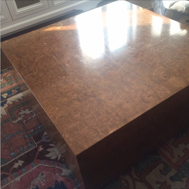 Mid-Century Burlwood Cube Coffee Table - Image 3 of 6