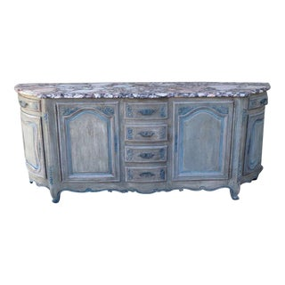 French Painted Sideboard with Marble Top C. 1930's