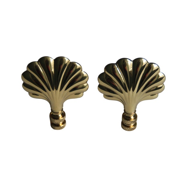 Image of Brass Shell Lamp Finials - Pair