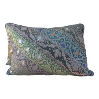 Green & Purple Indian Sari Pillows - A Pair