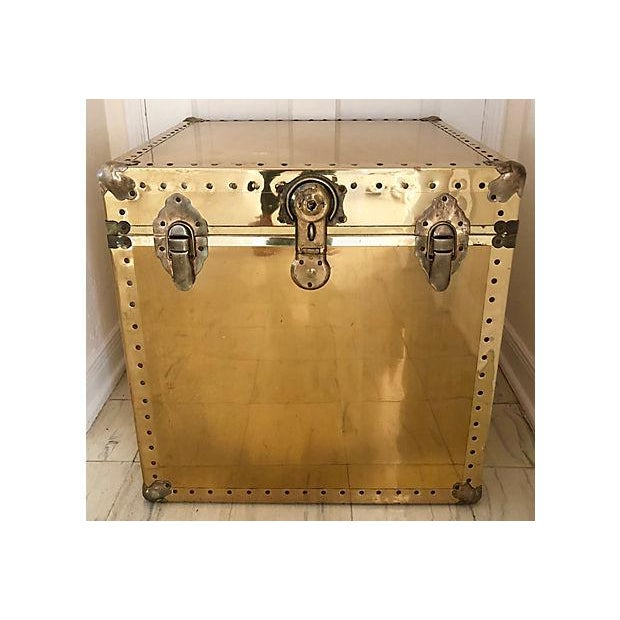 Brass and Wood Trunk / Side Table - Image 7 of 7