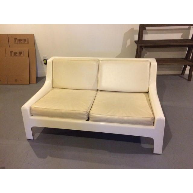 Danish Modern Fiberglass & Leather Sofa - Image 2 of 4