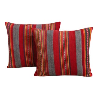 Colorful Pair of Early 20th Century Red and Gray Wool Striped Pillows