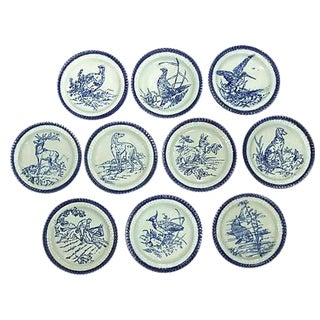 Antique Flow Blue Wildlife Plates - Set of 10
