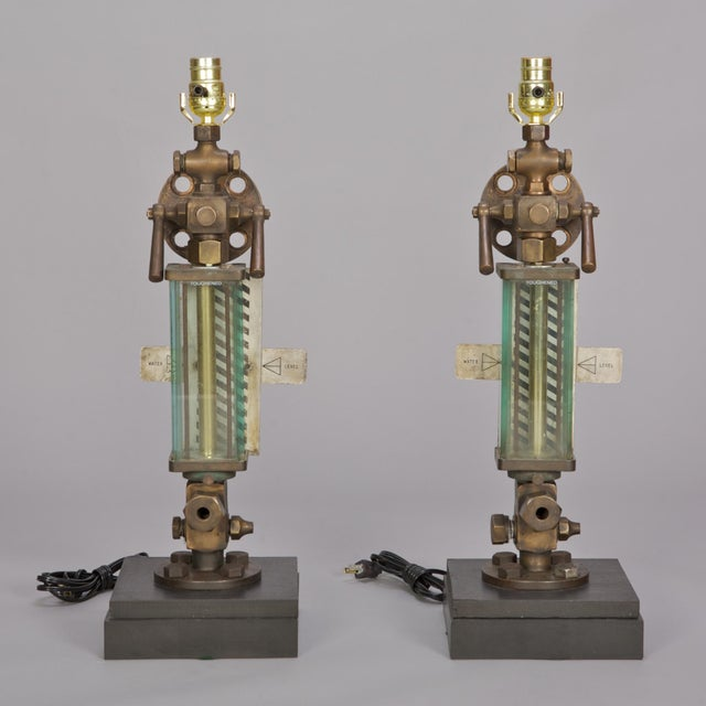 Brass, Glass & Iron Industrial Table Lamps - Pair - Image 2 of 5