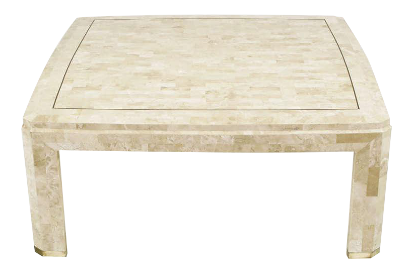 Tessellated Fossil Stone U0026 Brass Inlaid Coffee Table   Image 1 ...