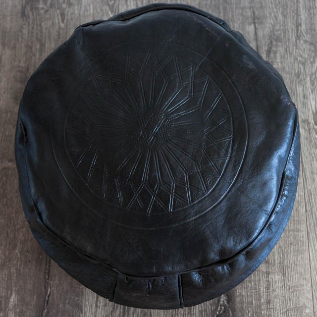 Moroccan Leather Pouf in Black - Image 4 of 4