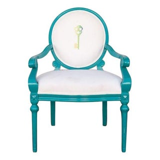 Louis Style Side Chair In Blue