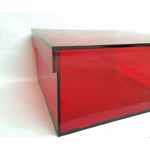 Image of Vintage Red Acrylic Storage Box