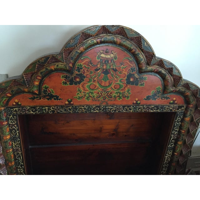 Tibetan Hand Carved & Painted Wooden Armoire - Image 4 of 4