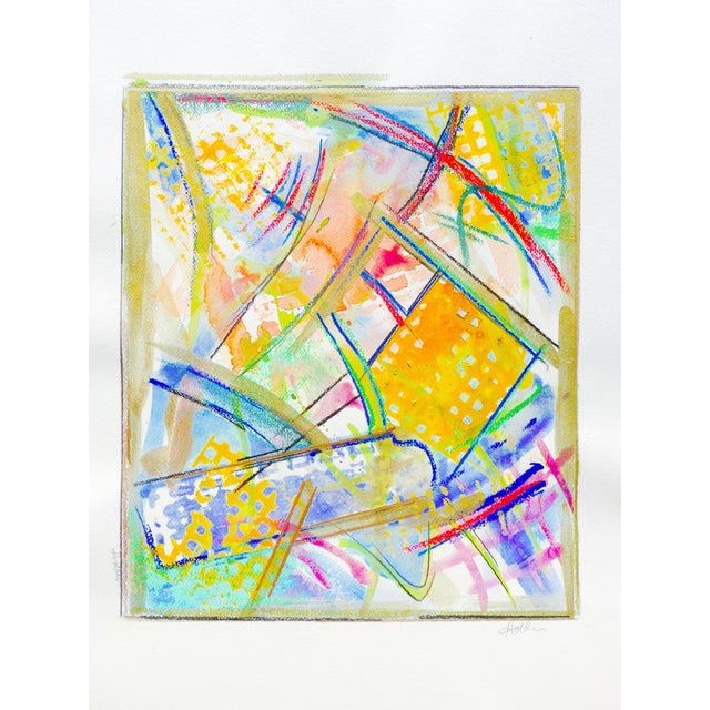 Yellow and Green Abstract Watercolor - Image 1 of 5