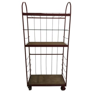 Red Industrial Cart on Wheels