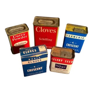 1950s Kitchen Spice Tins - Set of 5