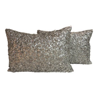Hand Beaded Silver Lumbar Pillows - A Pair