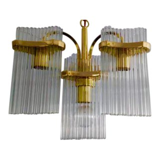 Gaetano Sciolari for Lightolier Brass & Glass Chandelier